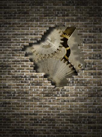 muro rotto: vecchio meccanismo su un muro rotto Archivio Fotografico