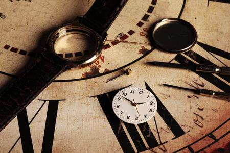 disassemble: repairing an old and broken clock Stock Photo