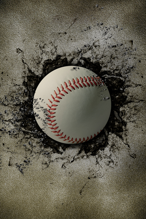 baseball embedded in a stone wall