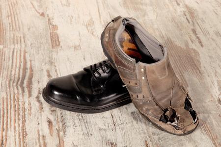 金持ちと貧乏人、靴のコンセプト