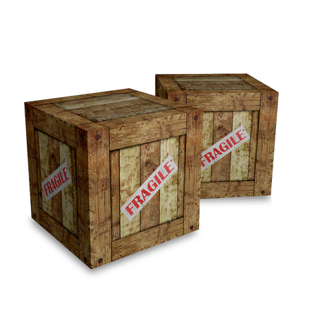two wooden boxes on a white background Stock Photo