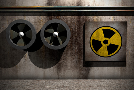 symbol of nuclear danger on a dirty room iin 3d Stock Photo - 29804428