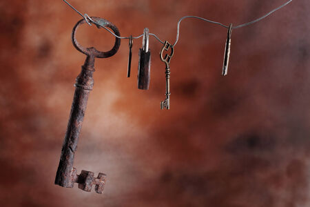 picture of an old keys on a brown background photo