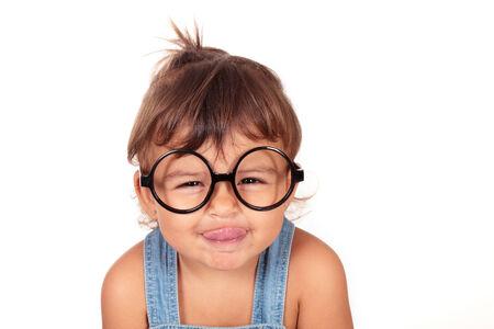 beautiful caucasian girl with glasses Stock Photo