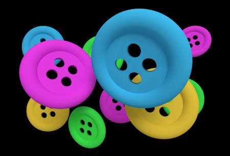 design in 3d of some buttons of different colors on a black background photo