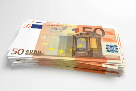 batch of euro: pile of 50 euros banknotes design in 3d