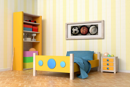 design in 3d of an orange and blue kids room photo