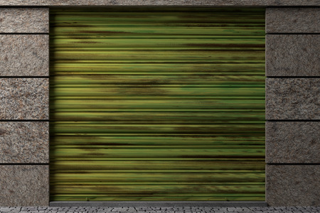 stockroom: design in 3d of a door of an old closed warehouse