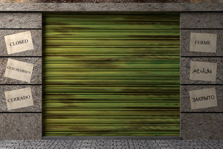 design in 3d of a door of an old closed warehouse photo