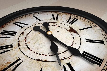 Diseño 3d de un viejo y extraño reloj antiguo
