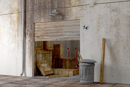 design in 3d of an old warehouse with a lot of boxes photo