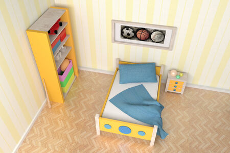 3D rendering of an orange and blue kids room photo