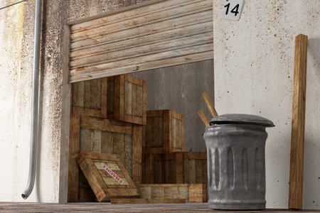 3d rendering of an old warehouse with a lot of boxes photo