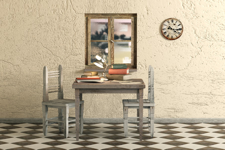 dirty room: 3d rendering of some old books on a table in a dirty room