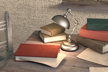 dirty room: 3d rendering of an old book on a table in a dirty room Stock Photo