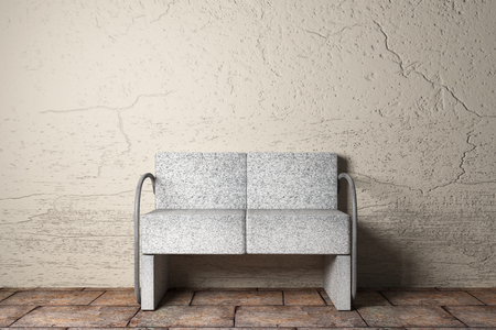 3D rendering of an uncomfortable stone armchair