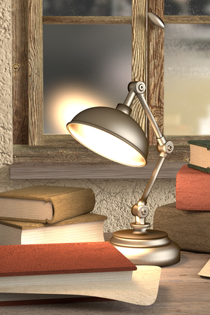 dirty room: 3de rendering of some old books and a lamp on a dirty room