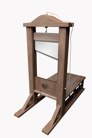 inquisition: 3d rendering of a guillotine, a dead instrument