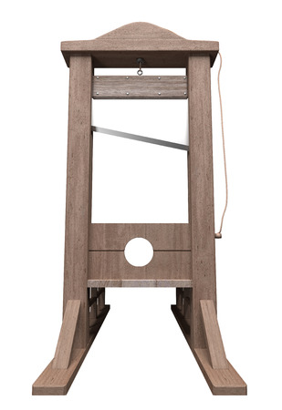 exterminate: 3d rendering of a guillotine, a dead instrument