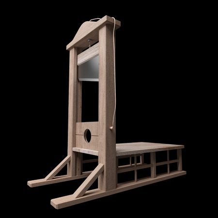 guillotine: 3d rendering of a guillotine, a dead instrument