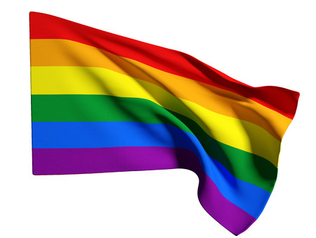 bandera gay: Representaci�n 3D de una bandera gay en un fondo blanco