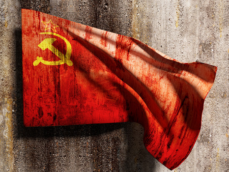 soviet flag: 3d rendering of an old soviet flag on a dirty wall