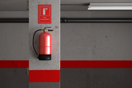 fire extinguishing: 3d rendering of a fire extinguisher on a dirty wall