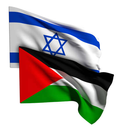 asian business meeting: 3d rendering of an israel and palestine flags