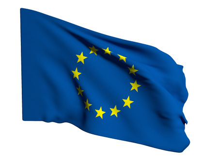 eec: 3d rendering of an ecc flag on a white background Stock Photo