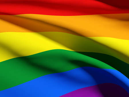 gay symbol: 3d rendering of a detail of a gay flag