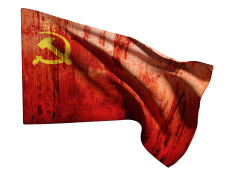 soviet flag: 3d rendering of an old soviet flag on a white background Stock Photo