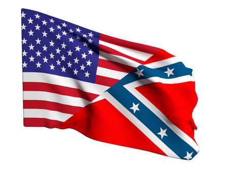 confederation: 3d rendering of an united states and confederate flags Stock Photo
