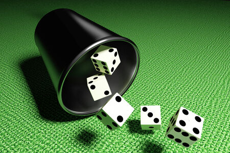 craps: 3d rendering of some dices on a white background