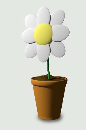 potting soil: 3d rendering of a flower on a pot in a white background