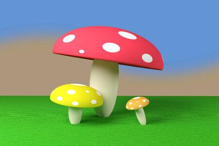 3d rendering of some mushroom cartoons photo