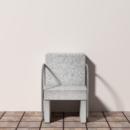uncomfortable: 3D rendering of an uncomfortable stone armchair