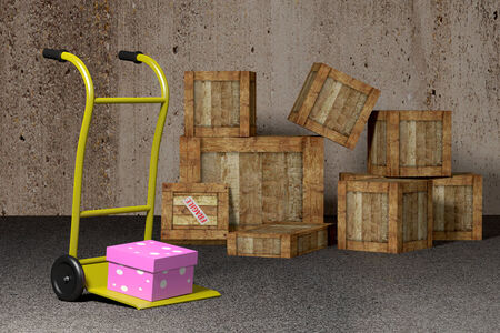 packaging industry: 3D rendering  of a gift box on a trolley