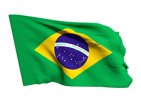 foreign national: 3d rendering of a brazil flag on a white background