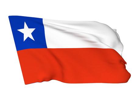 flag of chile: 3d prestaci�n de una bandera de Chile sobre un fondo blanco