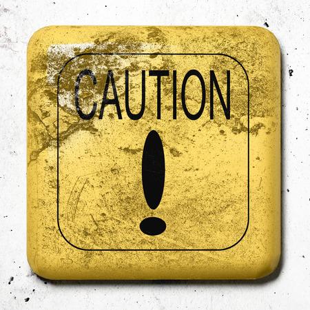 hazardous metals: 3d rendering of an old caution sign