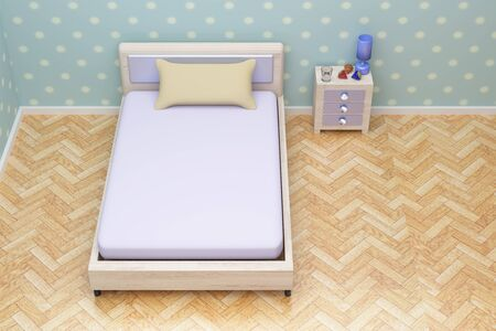 nightstand: 3d rendering of a beautiful blue room with a nightstand