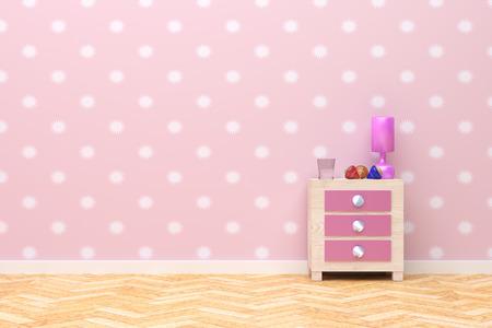 bedroom wall: 3d rendering of a beautiful children nightstand