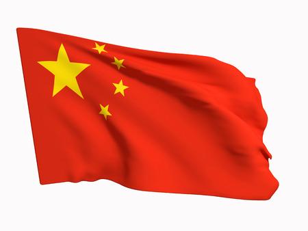 白の背景に中国の国旗の 3 d レンダリング