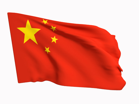 3d rendering of a China flag on a white background