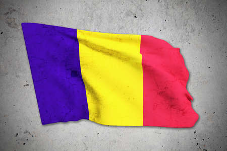 romania flag: 3d rendering of an old Romania flag