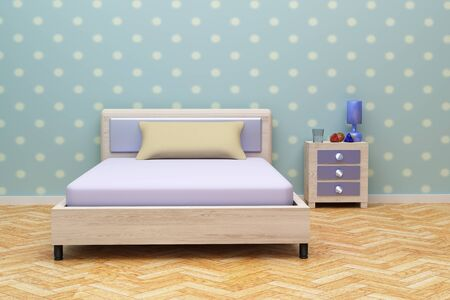 wall decoration: 3d rendering of a beautiful blue room with a nightstand