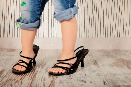 adoring: girl shoes with heels of her mom