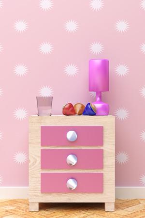 nightstand: 3d rendering of a beautiful children pink nightstand