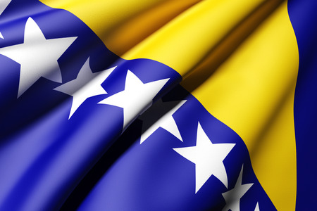 bosnia and herzegovina flag: 3d rendering of a bosnia herzegovina flag