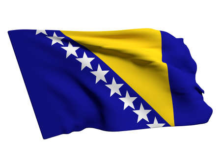 bosnia: 3d rendering of a bosnia herzegovina flag
